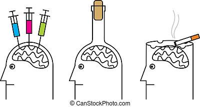 Gewohnheiten, die gesundheitsschädlich sind. Rauchen, Drogenabhängigkeit, Alkoholismus.