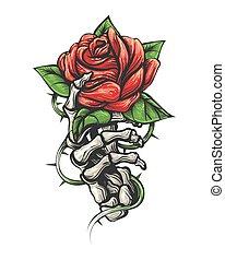 gezeichnet, besitz, t�towierung, stil, skelett, rose, blume, hand, weinlese