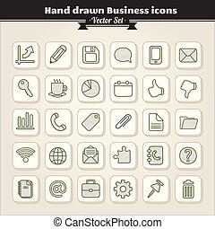 gezeichnet, hand, geschäfts-ikon