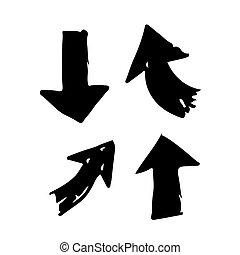 gezeichnet, hand, pfeil abbild