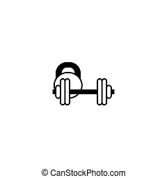 gezeichnet, illustration., hantel, schwarz, hand, freigestellt, weißes, element, kettlebell, ikone, vektor, hintergrund.