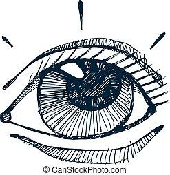 gezeichnet, vektor, auge, menschliche hand