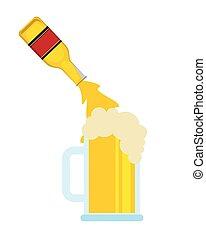 gießen, bierflasche, glas, becher