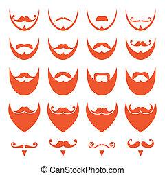 Ginger Bart mit Schnurrbart-Ikonen.