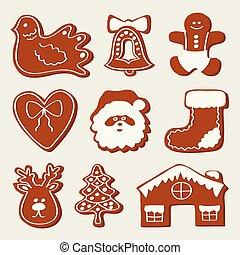 Gingerbread Cookies sind auf weißem Hintergrund isoliert. Vector Illustration, EPS 10
