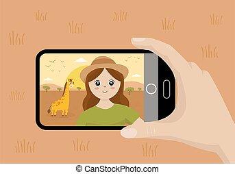 giraffe., selfie, m�dchen, safari., nehmen, reizend, reise