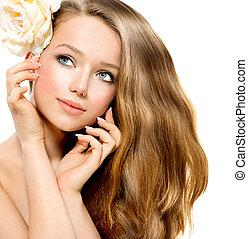 girl., schoenheit, modell, blume, rose, schöne