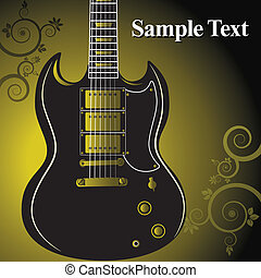 gitarre, blumen-