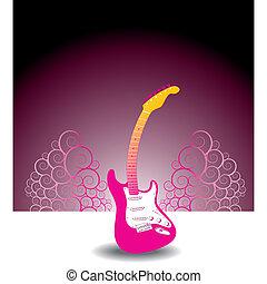 gitarre, blumen-, hintergrund