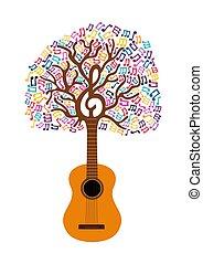 Gitarrenbaum-Musik Note Concept Illustration