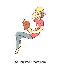 Giy liest ein Buch lächelnd.