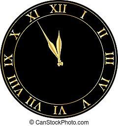 glänzend, party, vector., vorabend, einladung, clock., jahr, neu , vektor