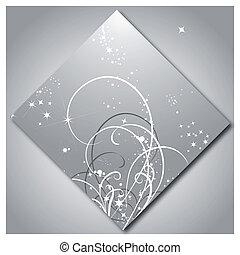 Glänzende Sterne mit Mustern aus Silber.
