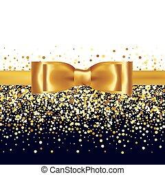 Glänzendes goldenes Satinband auf weißem Hintergrund.