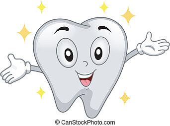 Glänzendes Zahnmaskottchen