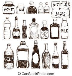 gläser, flaschen