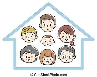 glücklich, generation, familie, drei, daheim