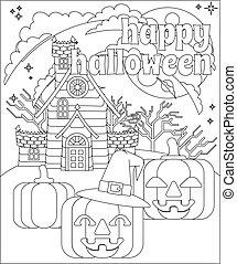 glücklich, halloween, haus, hintergrund, kã¼rbis, terrorisiert