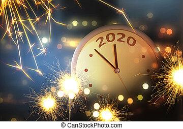 glücklich, jahr, neu , 2020