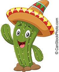 glücklich, kaktus, freigestellt, winkende , hand