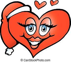 glücklich, karikatur, abbildung, weihnachten, herz, vektor