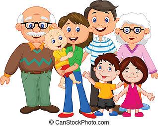 glücklich, karikatur, familie