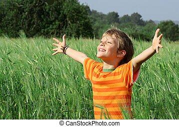 glücklich, kind, sommer, gesunde