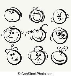 glücklich, leute, gesicht, ikone