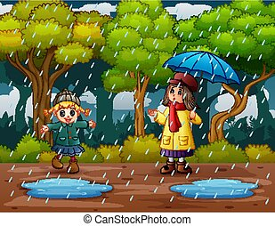 glücklich, mädels, regen, spielende