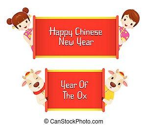 glücklich, ochse, kinder, chinesisches , banner, jahreswechsel
