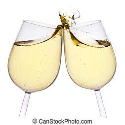 glücklich, toast, freigestellt, hintergrund., year., fröhlich, neu , paar, machen, weißes, champagner, weihnachten, flöten