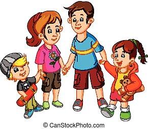 Glückliche Familie, die Händchen hält.