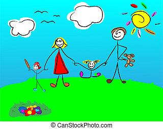 Glückliche Familie, die zusammen lächelt.