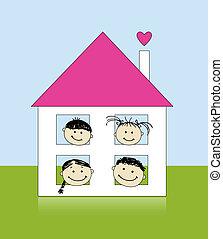 Glückliche Familie im eigenen Haus lächelt zusammen, zeichnet Skizzen