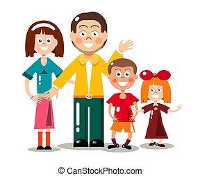 Glückliche Familie isoliert auf weißem Hintergrund. Vector Flat Design Cartoon.