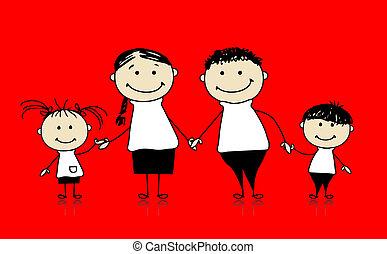 Glückliche Familie lächelt zusammen, zeichnet Skizze