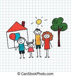 Glückliche Familie. Mutter, Vater und Kinder.