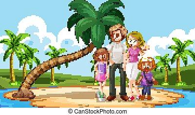 glückliche familie, sandstrand