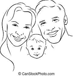 Glückliche Familie - schwarze Darstellung.