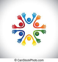 Glückliche, fröhliche & farbenfrohe Kinder und Kinder, die zusammen Vektor spielen. Die Grafik kann auch Vorschulkinder in einer Spielschule oder in einem Heim, Studenten oder Freunde darstellen, die Spaß auf Party haben