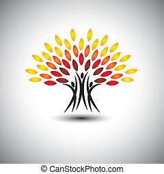 Glückliche, fröhliche Menschen als Bäume des Lebens - Öko-Konzept Vektor.
