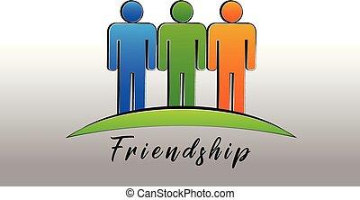 Glückliche Freundschaft Menschen Logo Icon Vektor.