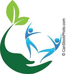 Glückliche gesunde Menschen Logo.