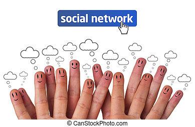 Glückliche Gruppe von Finger Smileys mit sozialer Netzwerk-Ikone