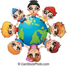 Glückliche Kinder, die Hand auf der Erde halten.