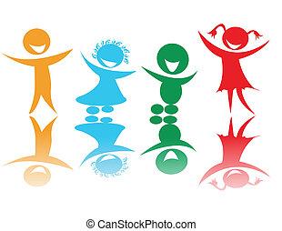 Glückliche Kinder in Farben