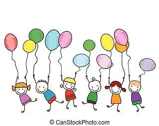 Glückliche Kinder mit Ballons.