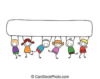 Glückliche Kinder mit Bannern.