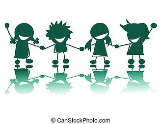 Glückliche Kinder schimpfen im weißen Hintergrund