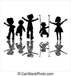 Glückliche kleine Kinder mit gestreiften Schatten